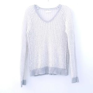 Lou And Grey Gray and White Open Knit Pullover